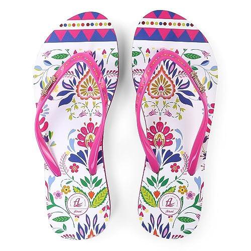 24acd04828b98a Aerusi Jaz Vita Women s Floral Design Flip-Flop Sandals Extra Large Size 10