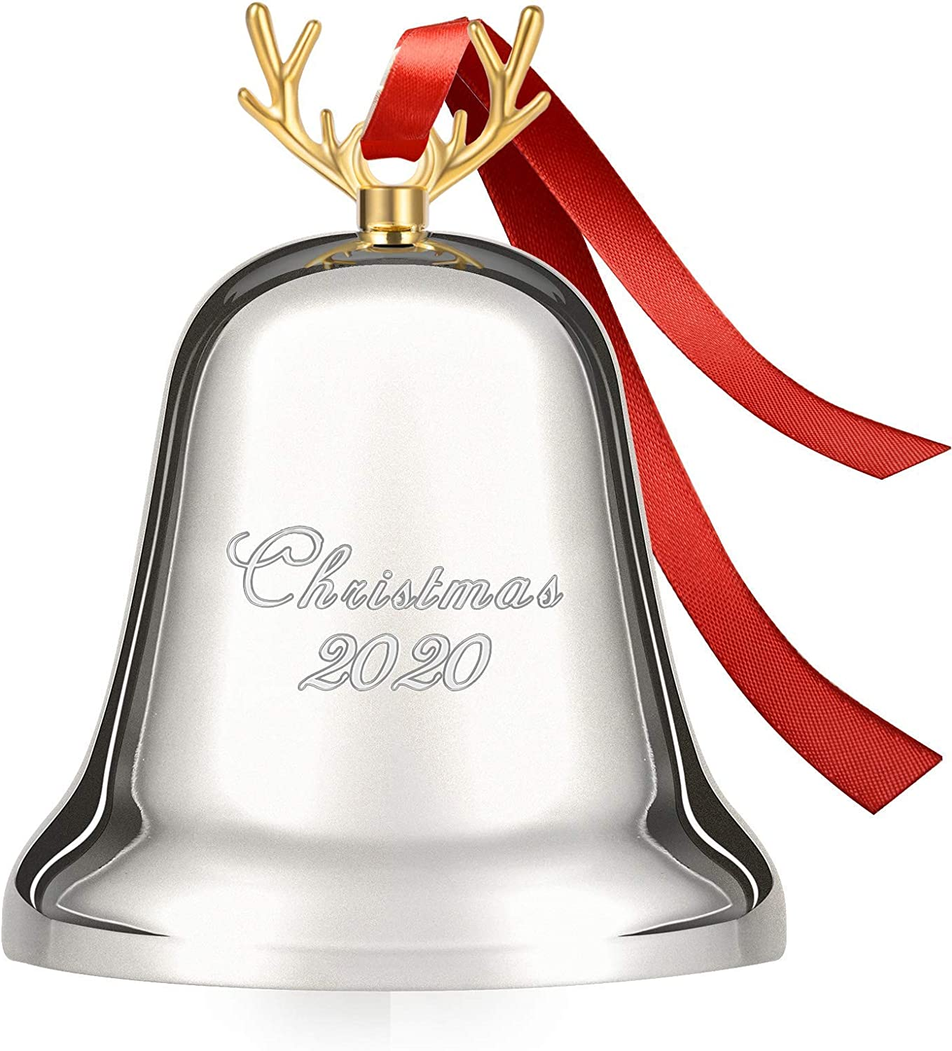 Koreno 2020 Annual Christmas Bell, Silver Bell Ornaments for Christmas Tree Decorations, Holiday Bell Jingle Bell for Anniversary with Ribbon & Gift Box - 1st Special Edition