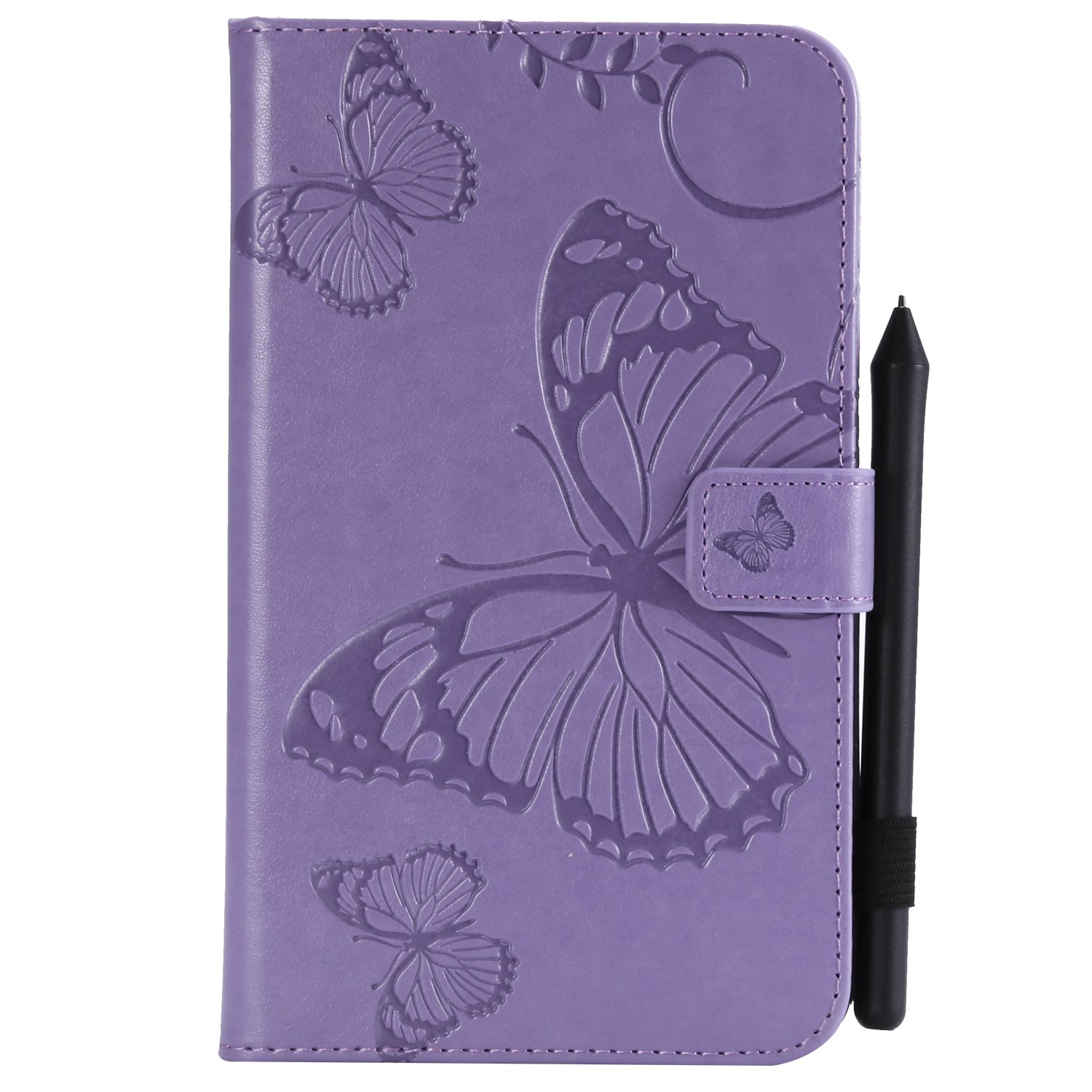 Bear Village Galaxy Tab a 7.0 Inch Case, Butterfly Embossed Anti Scratch Shell with Adjust Stand, Smart Stand PU Leather Case for Samsung Galaxy Tab a 7.0 Inch, Purple