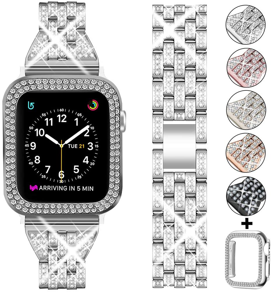 DSYTOM Compatible Apple Watch Band 44mm 42mm 38mm 40mm with Case Women,Rhinestone Metal Jewelry Wristband Strap with Bling PC Protective Case Replacement for iWatch Series 6 5 4 3 2 1(Silver)