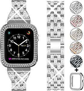 DSYTOM Compatible Apple Watch Band 42mm 38mm 40mm 44mm with Case Women,Rhinestone Metal Jewelry Wristband Strap with Bling PC Protective Case Replacement for iWatch Series 5 4 3 2 1(Silver)