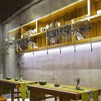 Lámpara de sala Lámpara industrial vintage Steampunk Lámpara colgante Lámpara de restaurante Loft Bar Cafe Altura ajustable, Casa de campo creativa Lámpara de cocina Diseño de hierro E27x4 L120CM: Amazon.es: Iluminación