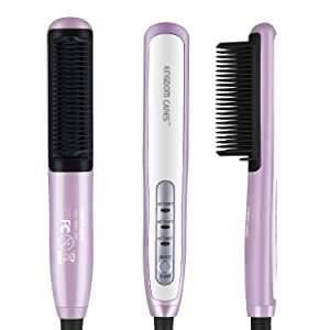 KINGDOMCARES Hair Straightener Comb Brush PTC Ceramic Heating Straightening Curling Anti Scald Static Flat Plates Irons Comb Finish All in 1 Electric Hair Curler 3 Level Control Iron Brush Pink