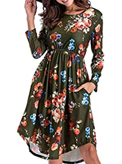 abb4f3d42d2c Yomoko Women s Long Sleeve Casual Dress With Floral Print Pleated ...