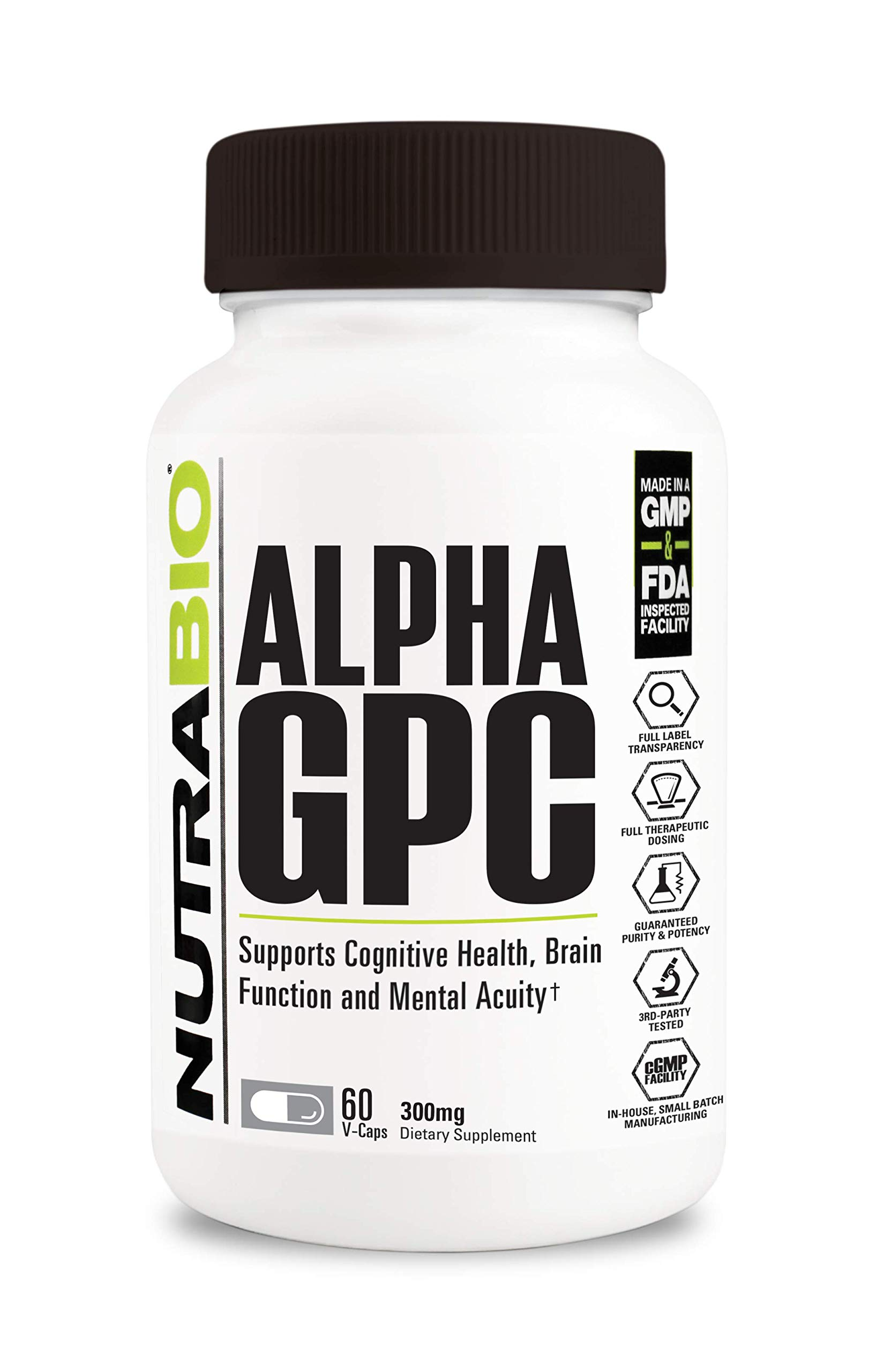 NutraBio Alpha GPC (300mg, 60 Vegetable Capsules)