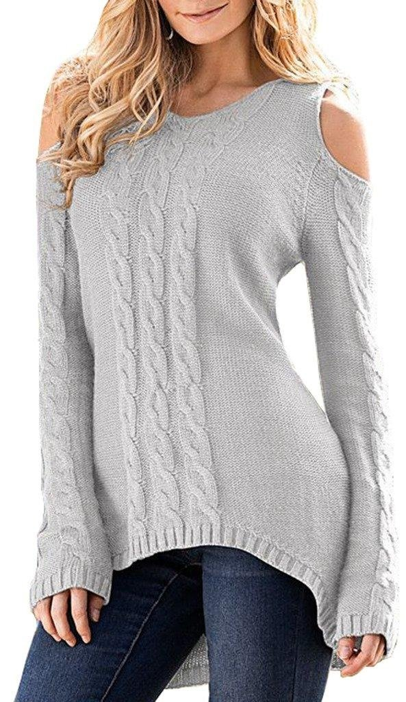 Merryfun Women's Cold Shoulder Sweater Long Sleeve Knit Tops,Light Grey XL