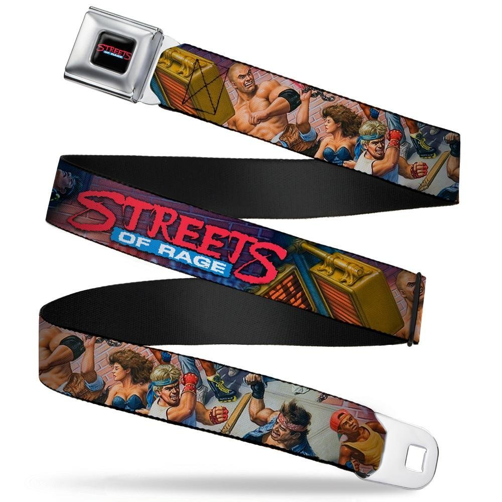 1.5 Wide Buckle-Down Seatbelt Belt 32-52 Inches in Length STREETS OF RAGE 7-Character Street Fight 16-Bit Box Cover Art