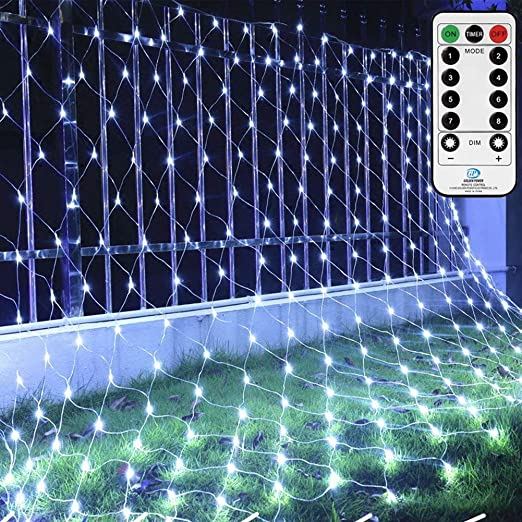 3m x 2m White Net Lights Fairy Lights String with 8 Light Modes,9.8ft X 6.6ft 200 Led Patio Twinkling Mesh Lights for Wedding Party Deck Wall Roof Fench Decor