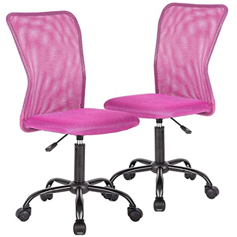 Terrific Ergonomic Office Chair Desk Chair Mesh Computer Chair With Lumbar Support No Arms Swivel Rolling Executive Chair For Back Pain Pink 2 Pack Beatyapartments Chair Design Images Beatyapartmentscom