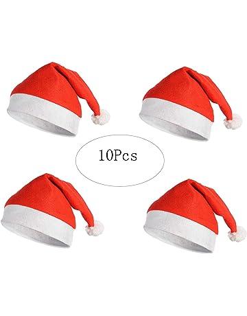 Suneast 10 pz cappelli di Natale cappello di Babbo Natale rosso morbido  Xmas Fancy Dress costume 3818f4ba0a16