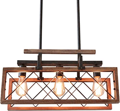 Giluta Rustic Wood Chandelier Rectangle Kitchen Farmhouse Chandelier Dining Room Island Pendant Light Hanging Ceiling Light Fixture 3 Lights C0059