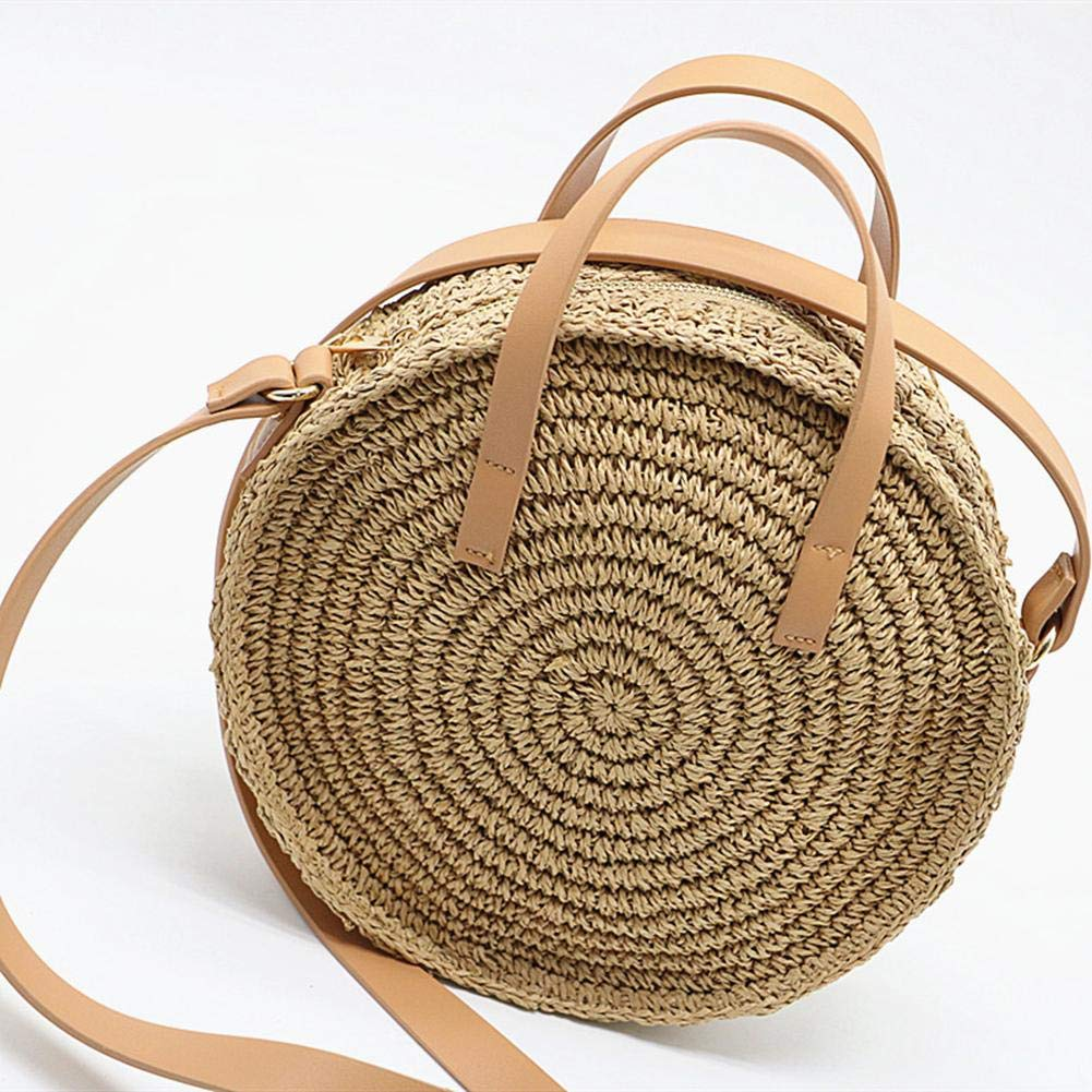 Lacyie Bolso Redondo de Paja para Playa con Cremallera Bolso de Hombro con Bandolera Tejida a Mano para Mujer