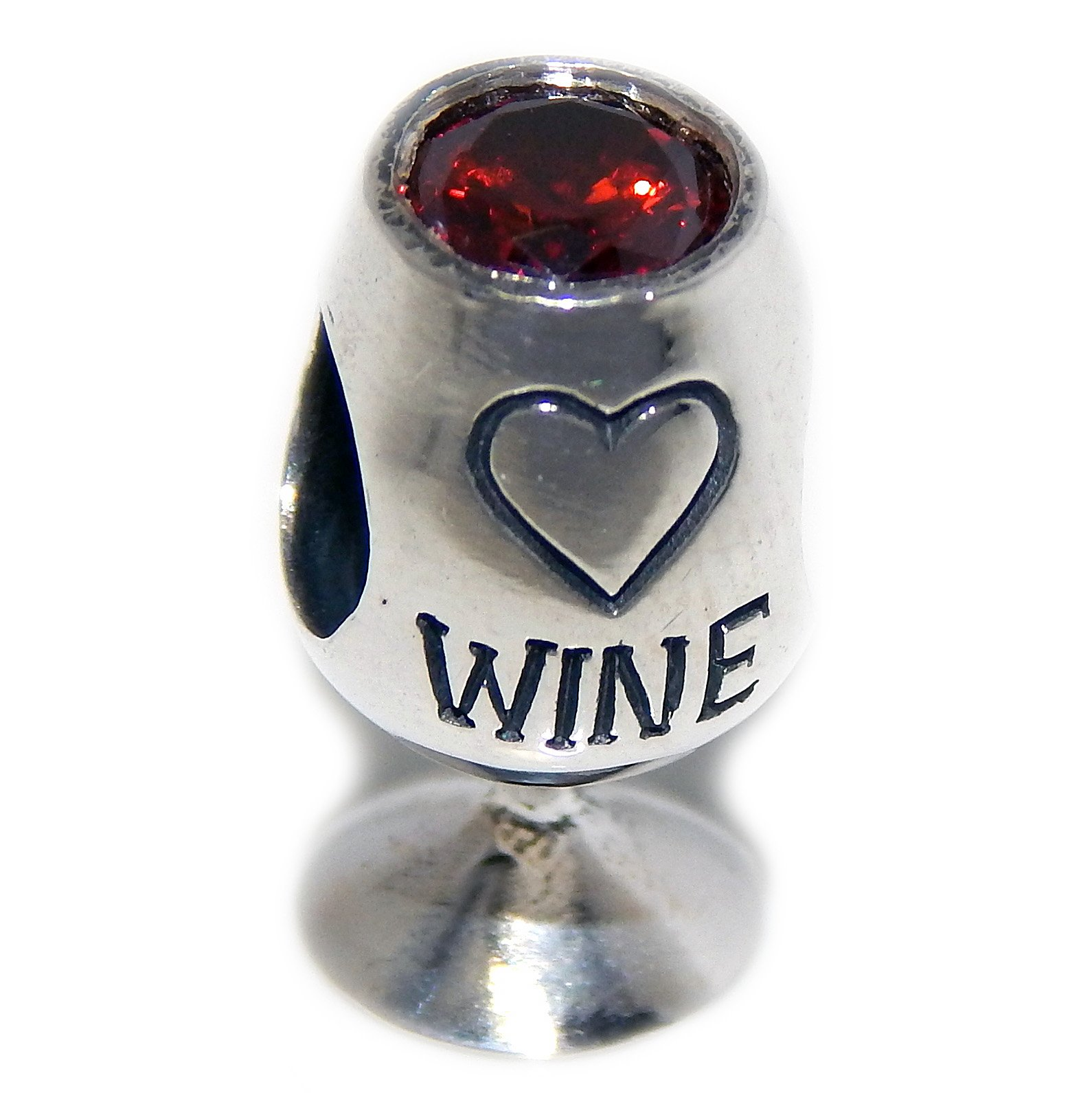 Solid 925 Sterling Silver ''Wine Glass with Red Crystal'' Charm Bead