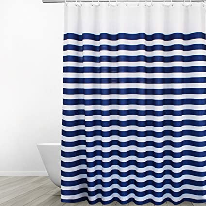 Eforgift Washable Soft Polyester Bathroom Curtain Water Repellent Long Navy Blue White Fabric Bath Mildew