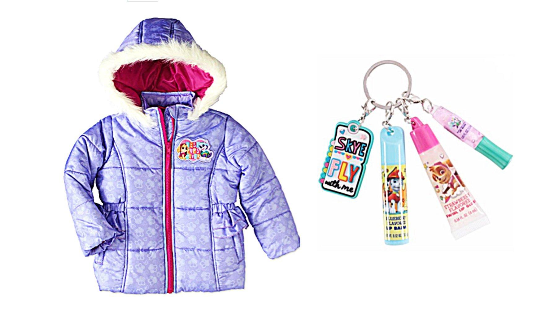 Paw Patrol Best Pups Ever Toddler Girls Purple Hooded Puffer Jacket Plus 4 Piece Lip Set (4T)