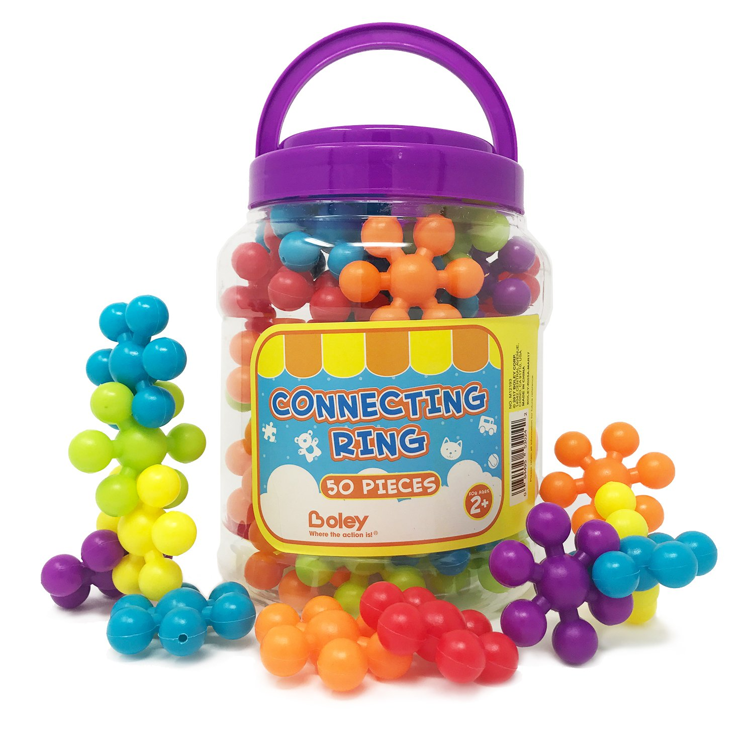 BOLEY 50-piece Educational Building Block Rings for Toddlers and Kids, Builder set comes with vibrant pieces and an easy storage bucket! Review