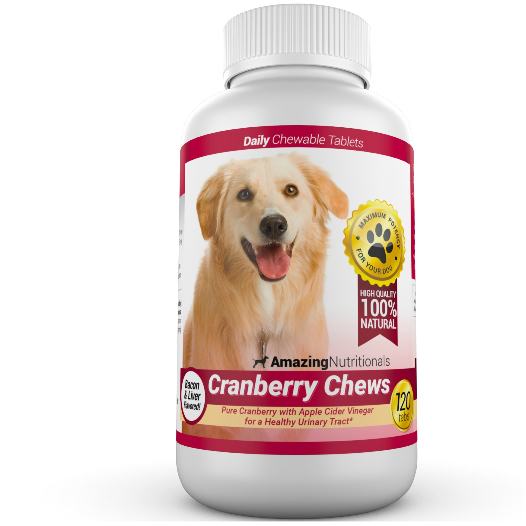 Amazing Cranberry for Dogs Pet Antioxidant, Urinary Tract Support Prevents and Eliminates UTI in Dogs, 120 Chews by Amazing Nutritionals