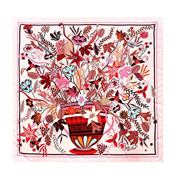 fab766c77 RFVBNM Pañuelo para Mujer Sarga Cuadrado Grande Pintura al óleo Estampado  Floral Bufanda