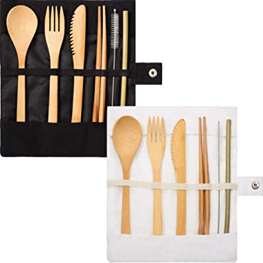 Tatuo 2 Set Bamboo Cutlery Flatware Set Bamboo Travel Utensils Include Reusable Knife Fork Spoon Chopsticks Straws (Pure White and Black)