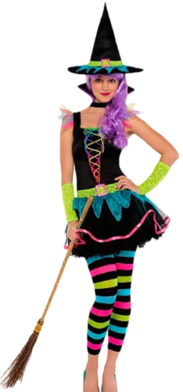 Zauberclown Mädchen Kinder Kostüm Neon Hexe, M, Mehrfarbig
