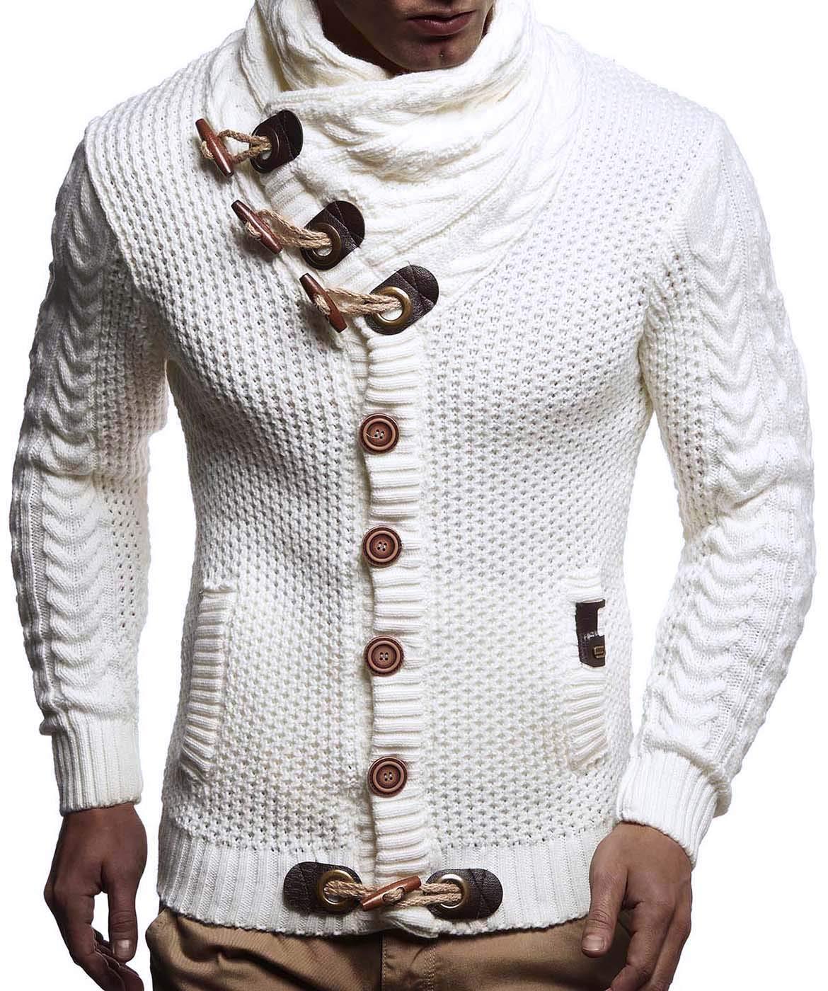 LEIF NELSON Chaqueta de la Chaqueta de Punto de los Hombres Chaqueta de Punto con Capucha Sudor Sudadera suéter suéter