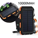 Solar Charger, VivoStar 10000mAh Solar Power Bank External Backup Battery Pack Dual USB Solar Panel Charger with 2LED Light Carabiner Compass Portable for Emergency Outdoor Camping Travel-Orange