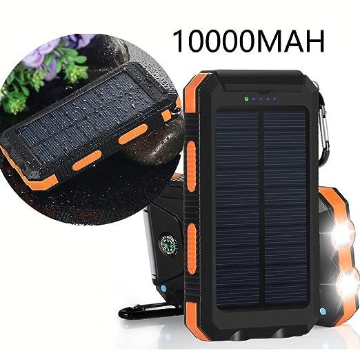 30 opinioni per Caricabatterie Solare,VivoStar 10000mA Power Bank con Due Porte USB Luce a Led