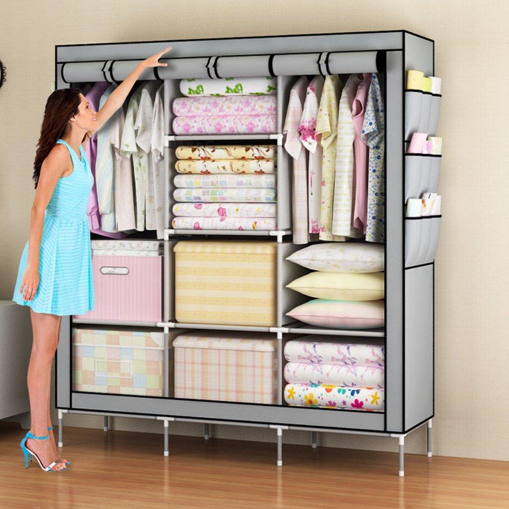 Amanda Home Portable Clothes Closet Non-woven Fabric Wardrobe Storage Organizer (Color Grey - 51'' length x 18'' width x 69'')