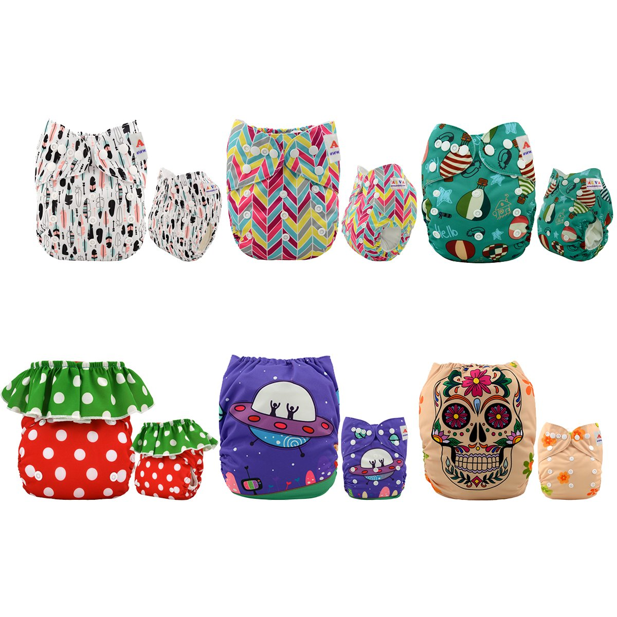 ALVABABY Reuseable Washable Pocket Cloth Diapers 6PCS + 12 inserts (Girl  Color), Gift