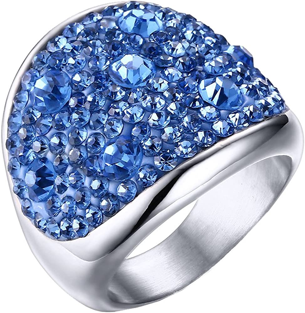 PAURO Mujer Acero Inoxidable Estilo Occidental Grandes Diamantes de Imitación Brillantes Alrededor del Anillo de Boda 7 Colores