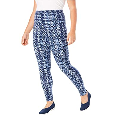 883c3fc1f62 Woman Within Plus Size Stretch Cotton Printed Legging at Amazon ...