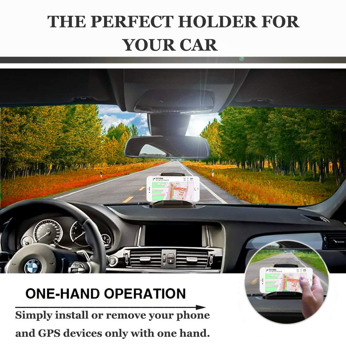 Cell Phone Holder for Car, Non-Slip Dash Pad Car Phone Mount GPS Holder for iPhone 7 Plus 8 Plus X Samsung Galaxy Note 8 S8 Plus S7 and 3-7 inch Smartphones (Black)