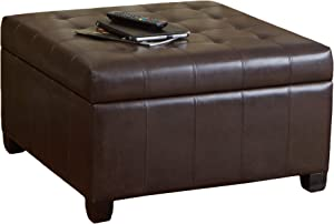 Christopher Knight Home Alexandria Bonded Leather Storage Ottoman, Marbled Brown
