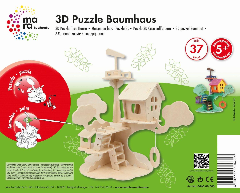 Mara by Marabu 046000005 - Baumhaus, 3D Puzzle, 37-Teile Fantasy-Charaktere