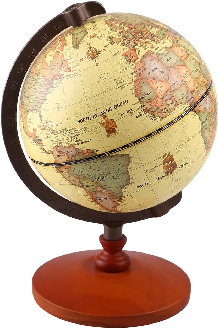 Ttktk Mini Vintage World Globe Antique Decorative Desktop Globe Rotating Earth Geography Globe Wooden Base Educational Globe Wedding Gift With Magnifying Glass Toys Games