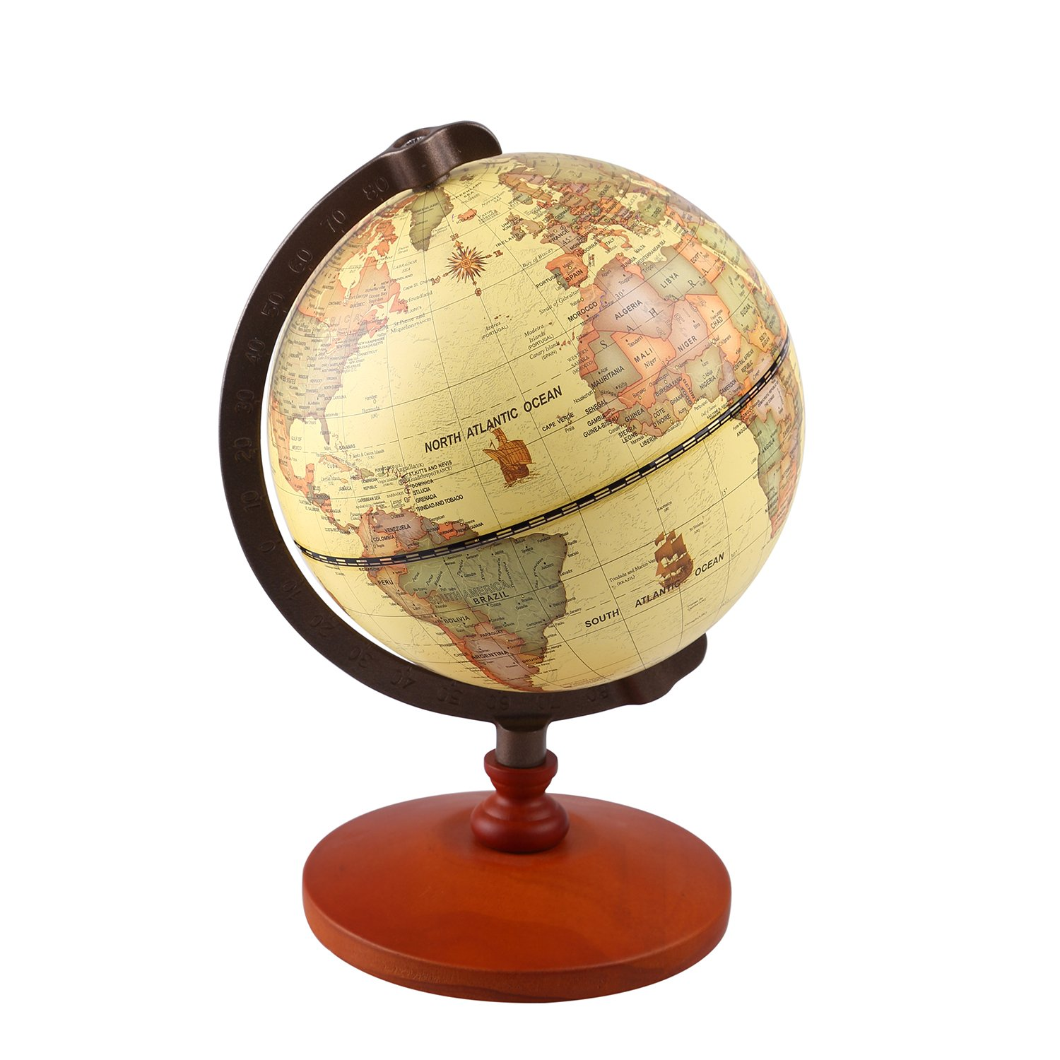 TTKTK Vintage World Globe Antique Decorative Desktop Globe Rotating Earth Geography Globe Wooden Base Educational Globe Wedding Gift with Magnifying Glass