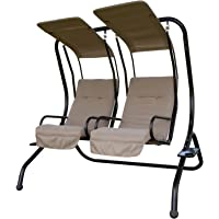 SunLife Converting Cushion Covered Patio Porch Glider Swing with Steel Frame Loveseats for 2 People