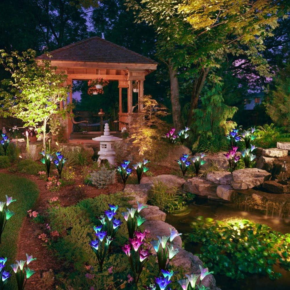 Solarleuchte Garten 2 St/ück Solar Garten Lampen 4 Kopf Lilien Blumen Solarlicht mit Farbwechsel LED Lampen f/ür den Garten//Rasen//Feld//Terrasse//Weg