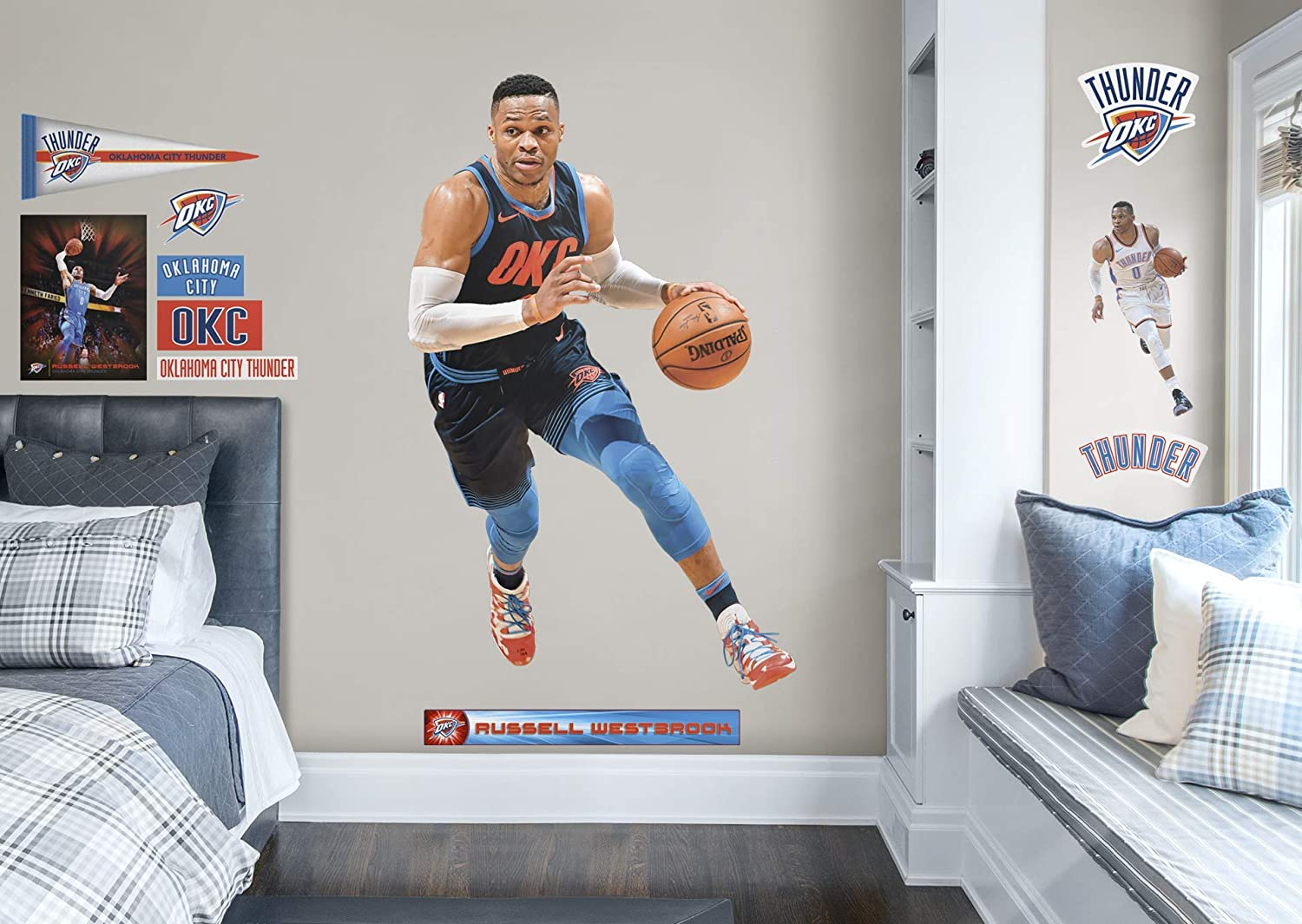 FATHEAD NBA Oklahoma City Thunder Russell Westbrook Officially Licensed Removable Wall Decal Multicolor Large 1900-00308-005