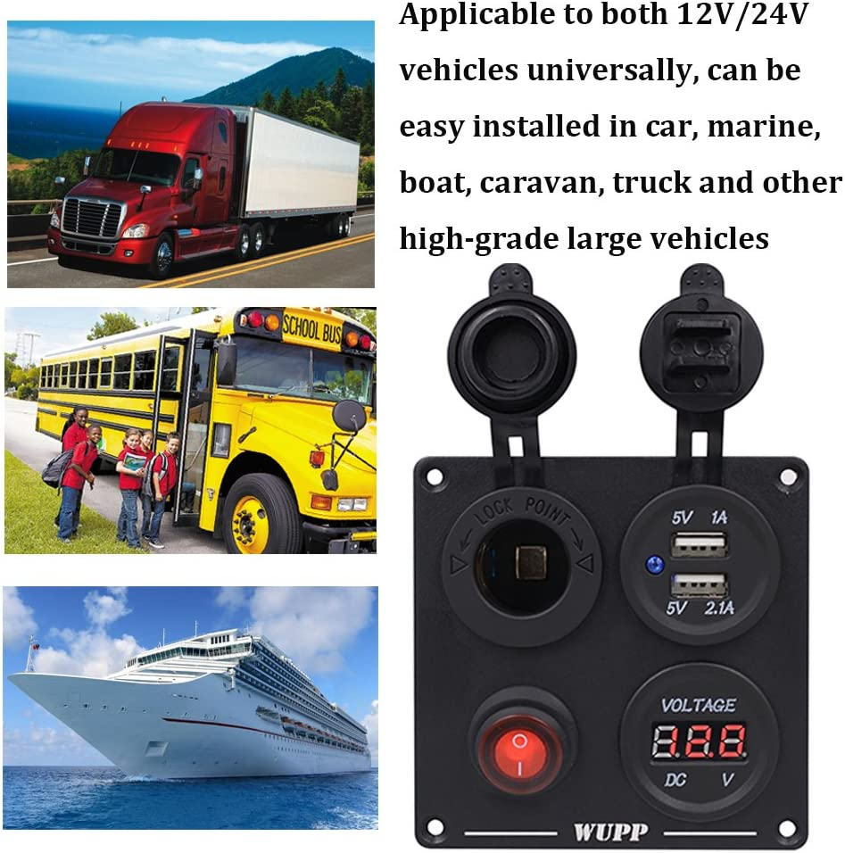 12V Power Outlet 1 Red Button Waterproof ON-OFF Toggle Switches Four Hole Aluminum Functions Panel for Car Marine Boat Truck RV Camper Vehicles LED Voltmeter Dual USB Socket Charger 1A /& 2.1A
