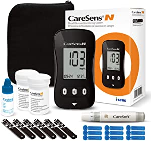 Blood Glucose Monitor Kit (Auto-Coding), CareSens N Diabetes Testing Kit with 1 Glucose Meter, 100 Glucose Test Strips, 1 Control Solution, 1 Lancing Device, 100 Lancets (30G), 1 Case