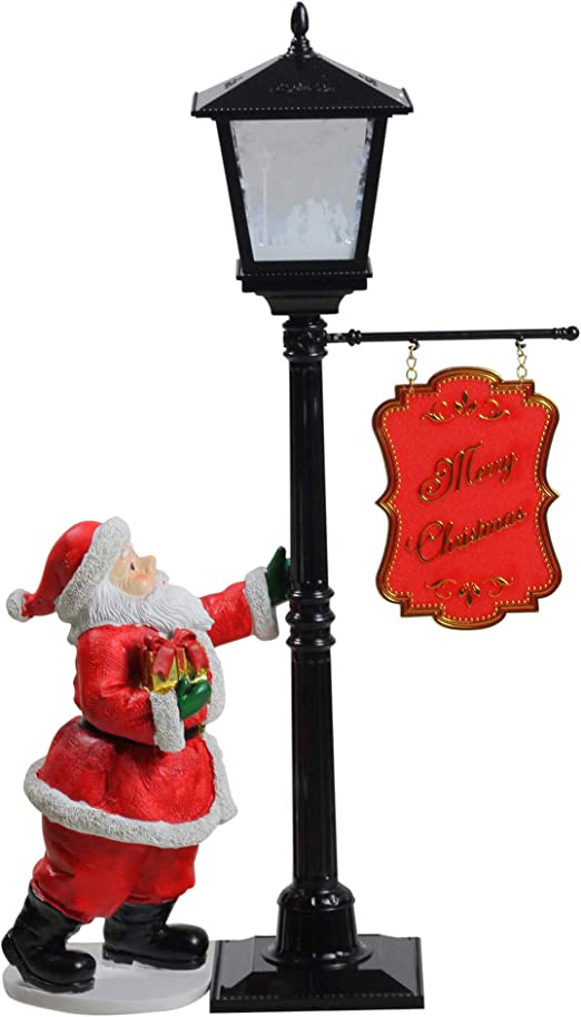 Amazon Com Northlight 14 5 Mini Snowing Street Lamp And Santa Claus Christmas Table Top Display Home Kitchen