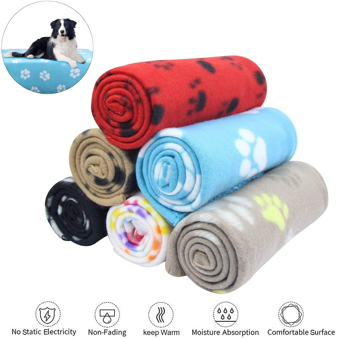 AK KYC 6 Pack Mixed Puppy Blanket Cushion Dog Cat Fleece Blankets Pet Sleep Mat Pad Bed Cover with Paw Print Kitten Soft Warm Blanket for Animals : Pet Supplies