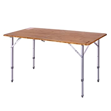 Superieur KingCamp Lightweight Sturdy Folding Bamboo Table Top With Aluminium Legs  For Camping Outdoor Picnic Garden