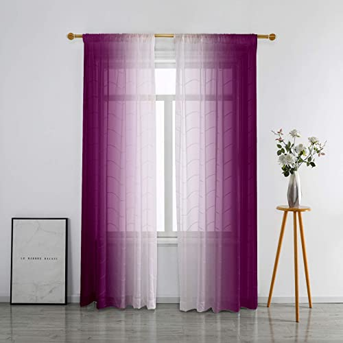SMILETIME Faux Linen Ombre Sheer Curtains - the best window curtain panel for the money