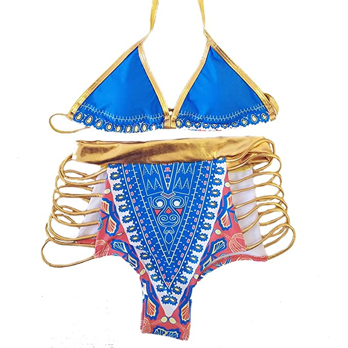 0a7c0e2fcd91a Image Unavailable. Image not available for. Color  xzbailisha Women s  African Hot Stamping Tribal Print High Waist Bikini ...