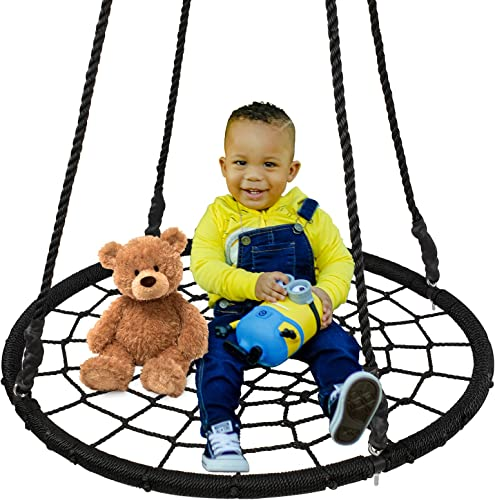 SUPER DEAL Spider Web Tree Swing Net Swing Platform Rope Swing Nylon Rope Detachable, Extra Safe and Durable, Fun for Kids, 24 inch