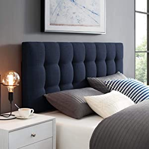 Modway Lily Tufted Linen Fabric Upholstered Full Headboard in Navy