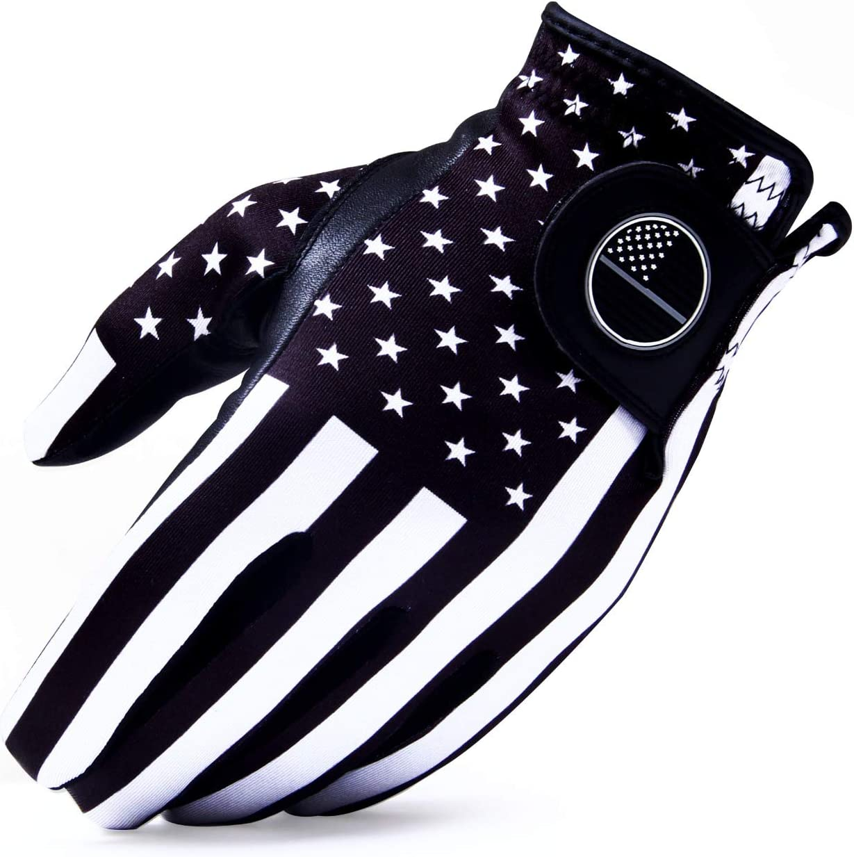RAULAM INTERNATIONAL USA Flag Golf Gloves with Perfect Grip for Men and Women,Golf Glove American Flag Left Hand-Golf Glove Men Left Hand/Right Hand,Golf Glove Women Left/Right (Black).