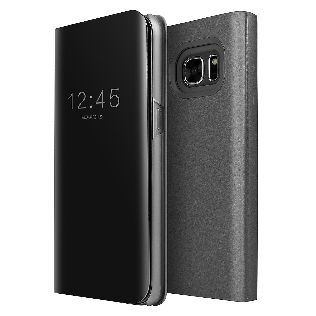 buy online 53a32 e52d6 Galaxy S7 Edge Case, AICase Luxury Translucent View Window Sleep/Wake Up  Function Cover Mirror Screen Flip Electroplate Plating Stand Full Body ...